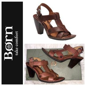 Born Chenille Leather Heeled Strap Sandals SZ.8